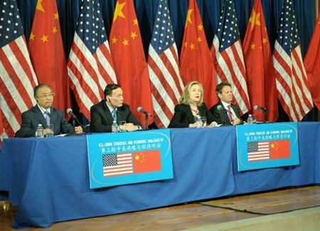 Secretary of State Hillary Rodham Clinton and Treasury Secretary Timothy F. Geithner give a joint statement with the Chinese Co-Chairs, Vice Premier Wang Qishan and State Councilor Dai Bingguo, at the close of the U.S.-China Strategic & Economic Dialogue in Washington, DC.